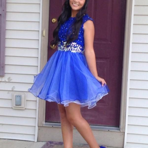 Navy Homecoming Dresses, Lace Homecoming Dresses, Organza Homecoming Dresses, Round Neck Homecoming Dresses, Juniors Homecoming Dresses, Cheap Homecoming Dresses, PD0640